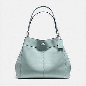Coach Large Pebble Leather Seafoam Green Tote Bag